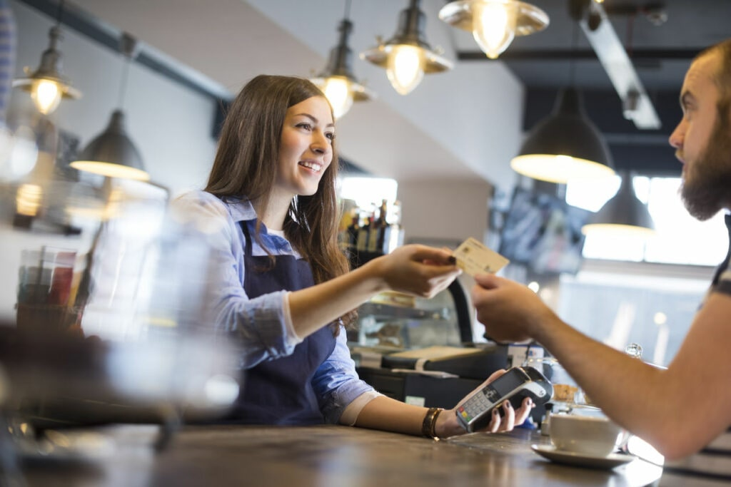 Image of coffee shop credit card payment